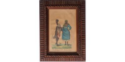 Madagaszkári benszülöttek 1820 - színezett metszet, antik keretben