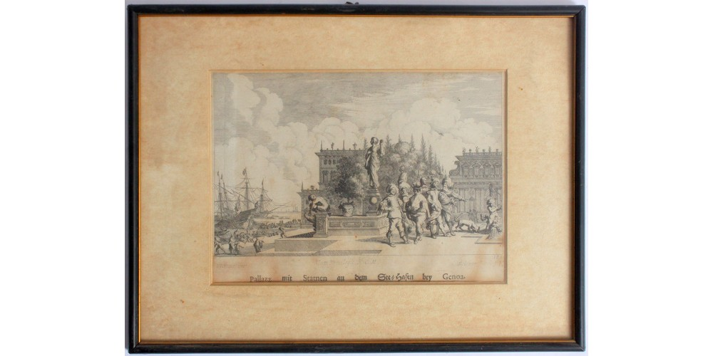 Palazzo szobrokkal Genova kikötőjében 1671 - metszet, antik keretben