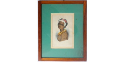 Hawaii királynő 1845 - színezett metszet, antik keretben