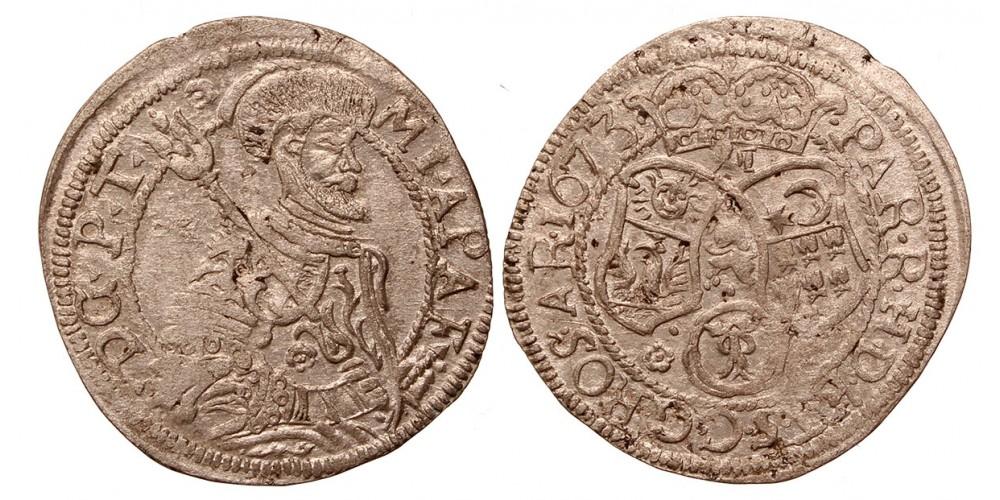 Erdély Apafi Mihály XII denáros garas 1673 Brassó R!