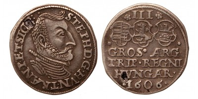 Erdély Bocskai István 3 garas 1606 R!