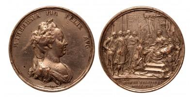 Mária Terézia erdélyi hivatalok visszaállítása érem 1762