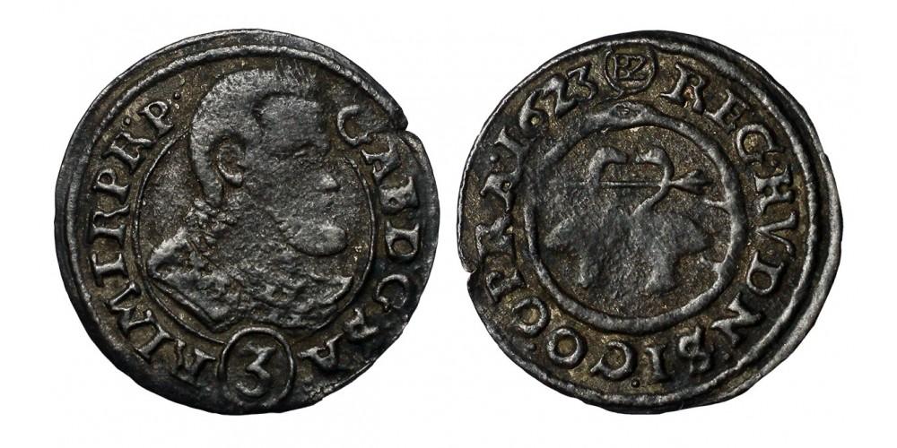 Bethlen Gábor 3 krajcár 1623 BZ Oppeln R!