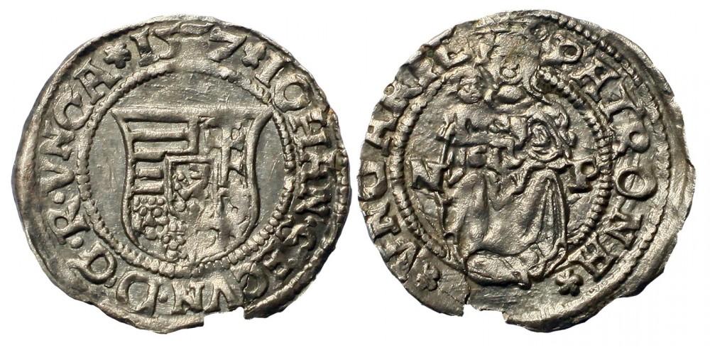 János Zsigmond denár 1557 NP