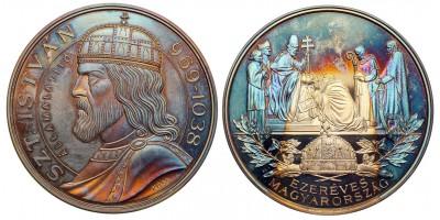 Ezer éves Magyarország  Szent István 969-1038 ezüst érem 1/2 kg