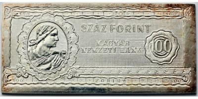 50 éves a forint ezüst 100 forintos bankjegy 1946-1996 BU