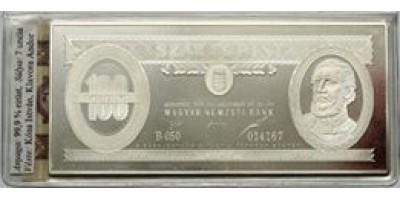Ezüst bankjegy,100 forint 1995 Ag999  7 uncia