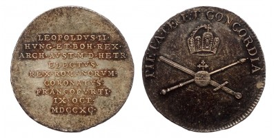 II.Lipót koronázása  ezüst zseton Frankfurt 1790