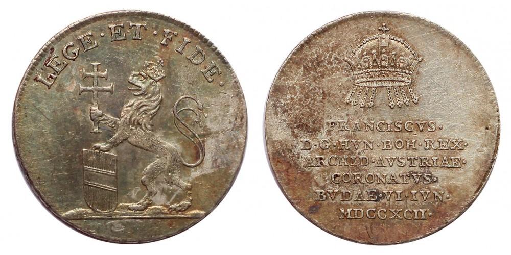 I.Ferenc Magyar királlyá koronázása ezüst zseton Buda 1792