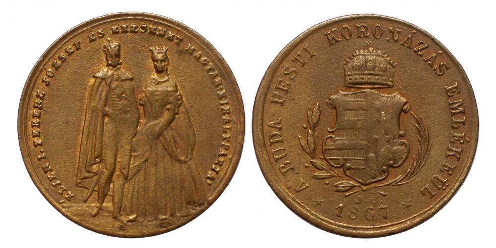 Ferenc József koronázása réz zseton 1867 Buda