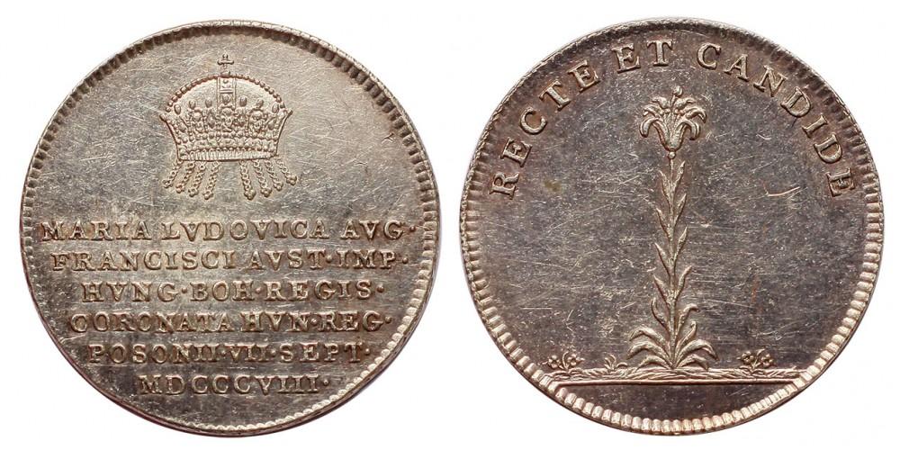 Mária Ludovika királynévá koronázása ezüst zseton Pozsony 1808