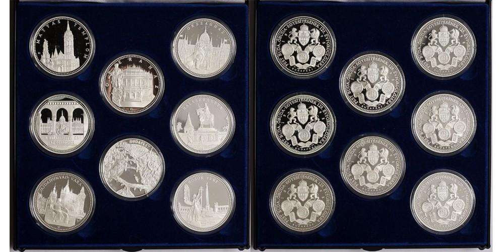 Budapest egyesítésének 125.évfordulója ezüst érem szett.