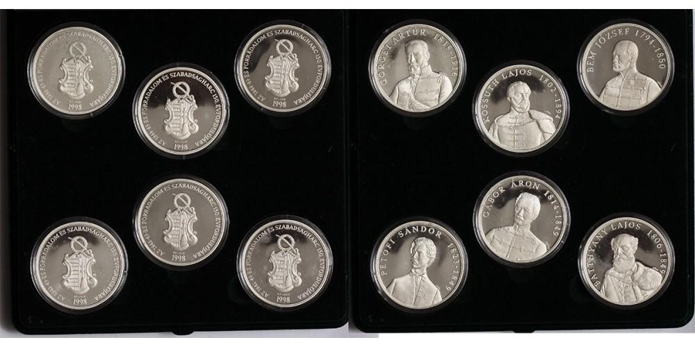 1848-49-es Magyar Szabadságharc ezüst érem sor.