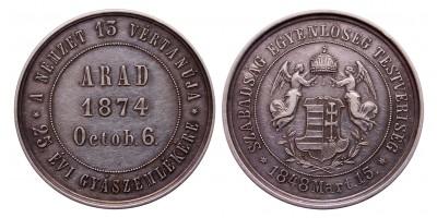 Aradi vértanúk halálának 25.évfordulójára ezüst érem 1874