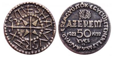 MÉE Budapest Az Érem-jubileumi érem II. öntött ezüst 40mm 37.1g R!