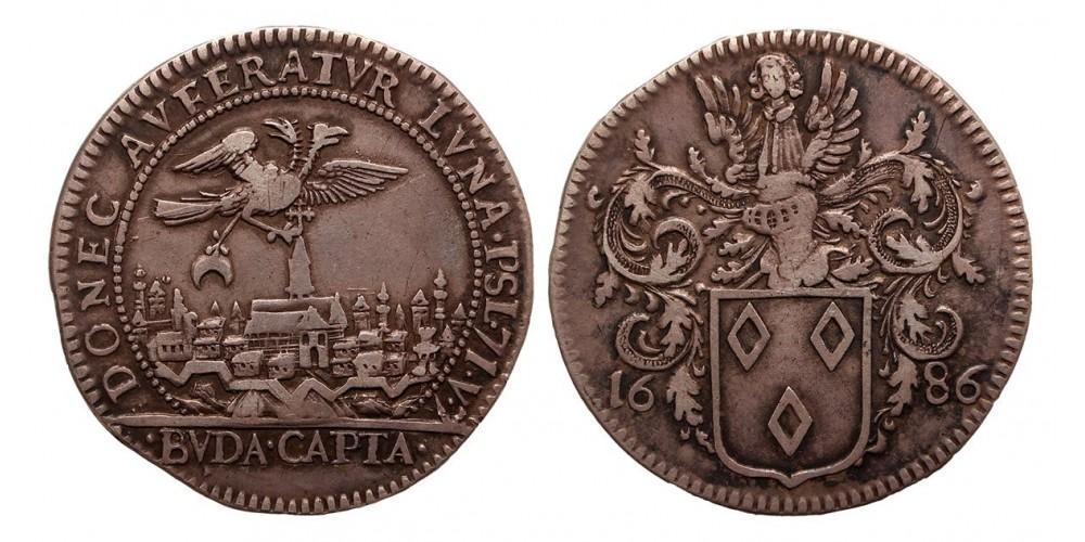 I.Lipót (1657-1705) Buda visszafoglalása ezüst érem 1686 RRR!