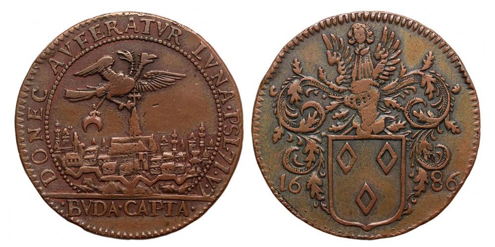 I.Lipót (1657-1705) Buda visszafoglalása Br érem 1686