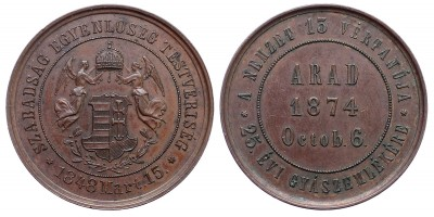 Aradi vértanúk halálának 25.évfordulójára bronz érem 1874