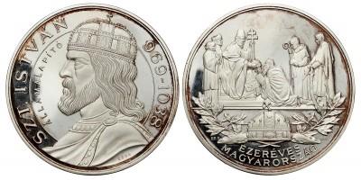 Ezer éves Magyarország  Szent István 969-1038 ezüst érem 124.5g
