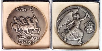 Buda Recuperata 1686-1936 ezüst emlékérem RRR!