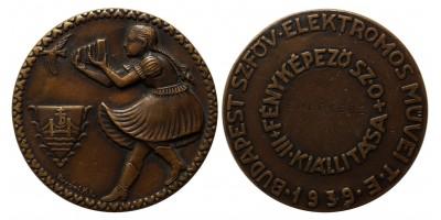 Budapest Sz. Főv. Elektromos Művei T. E. - Fényképező Sz. O. III. Kiállítása 1939 díjérem
