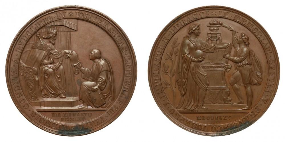 Bronz érem a  Bécsi Egyetem alapításának 500.évfordulójára 1865