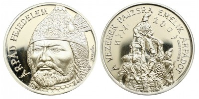 Árpád fejedelem ezüst érem