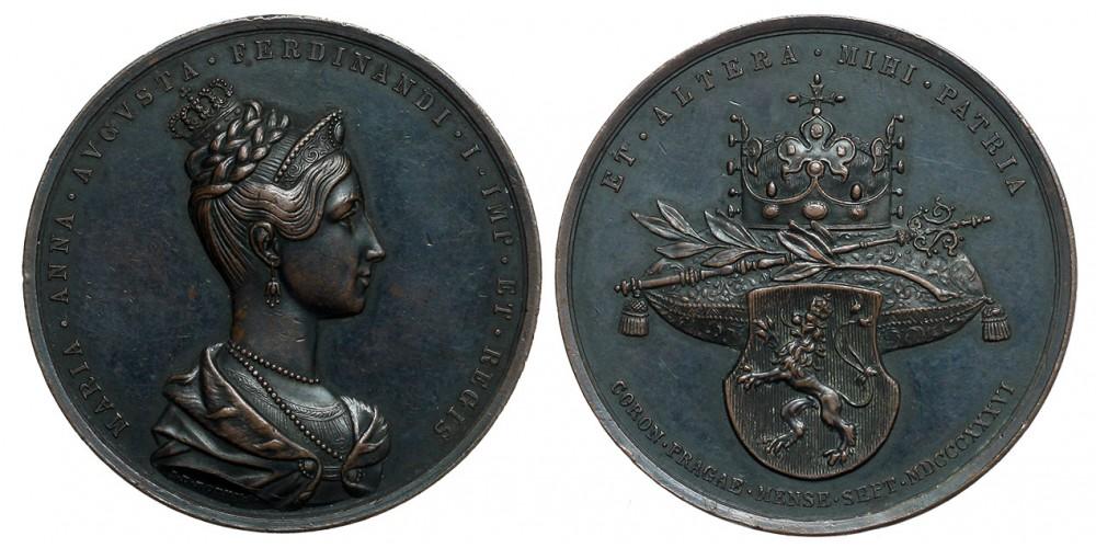 Maria Anna Augusta császárné prágai koronázására érem 1836