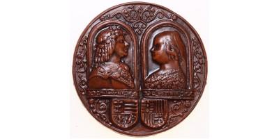 Mátyás és Beatrix mázas kerámia plakett