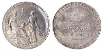 Franciaország Szuezi-csatorna megnyitása 1869 ezüst emlékérem
