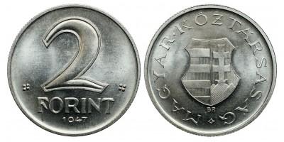 2 forint 1947 jelöletlen ARTEX utánveret