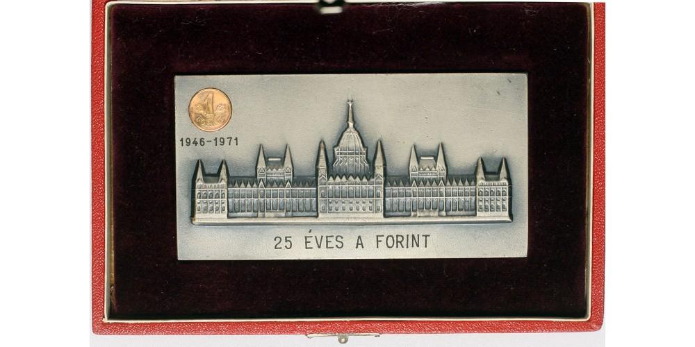 25 éves a forint dísz csomagolt emlékplakett, arany 1 forintos érmével RRR
