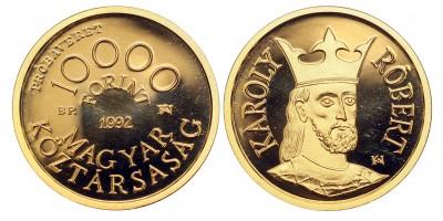 Károly Róbert 10000 forint 1992 PP RR! próbaveret