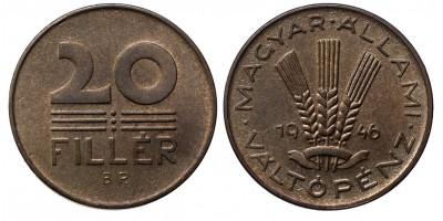 20 fillér 1946 utánveret