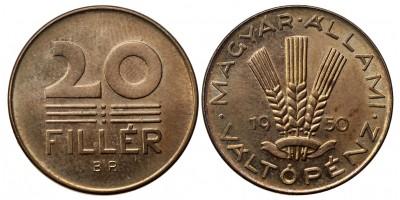 20 fillér 1950 utánveret