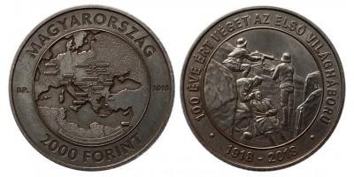 2000 forint az első világháború lezárásának 100.évfordulójára 2018