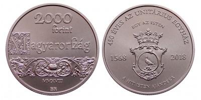 2000 forint 450 éves az Unitárius egyház 2018