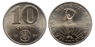 10 forint FAO 1981 próbaveret