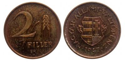 2 fillér 1947 rozettával jelölt Artex utánveret