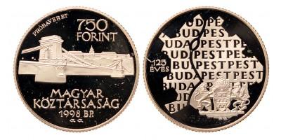 750 forint Budapest egyesítése 125 éves évfordulója 1998 próbaveret