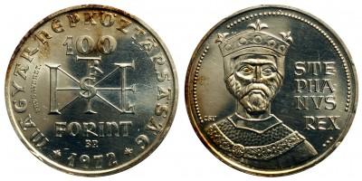 Szent István 100 forint 1972 BU próbaveret