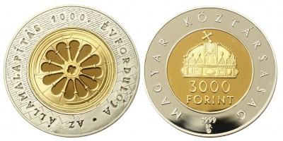 3000 forint Államalapítás 1999 PP