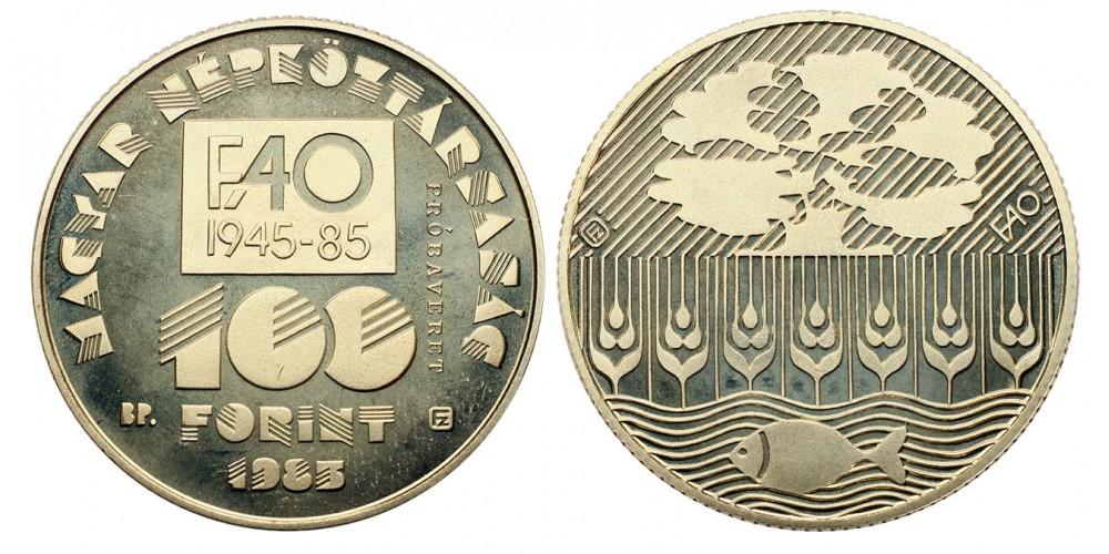 100 forint FAO IV. 1985 Probaveret