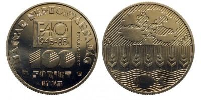 100 forint FAO 1985 próbaveret