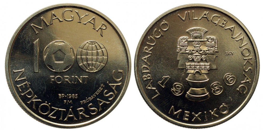100 forint Foci VB 1985 próbaveret