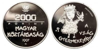 2000 Forint  világ gyermekeiért 1997 PP próbaveret