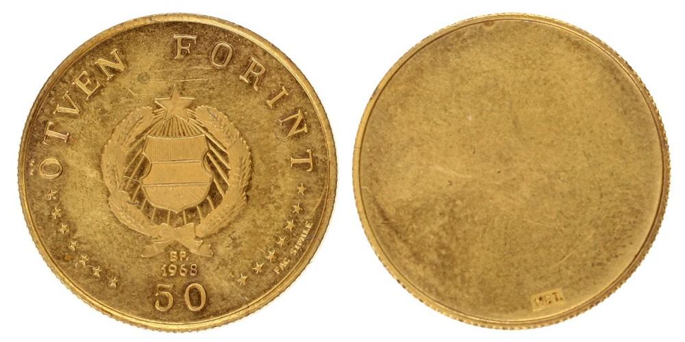 Semmelweis 50-100-200 forint 1968 proof aranyzott-réz bemutató darab sor.