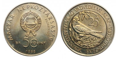 50 forint Világ vadvédelmi alap  1988 Próbaveret