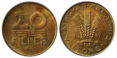 20 fillér 1947 utánveret