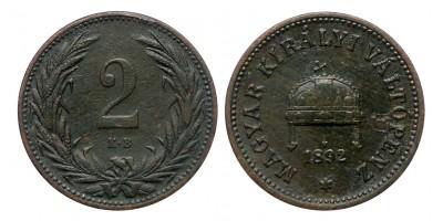 Ferenc József 2 fillér 1892 KB.